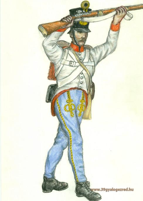 Egy 39-es gyalogos három francia huszár ellen, egy fiatal zászlós védelmében