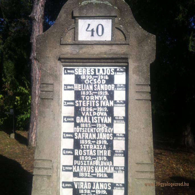 39-esek a békéscsabai hősök temetőjében